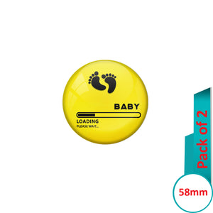 AVI Pin Badges with Yellow Baby loading please wait Quote Design Pack of 2