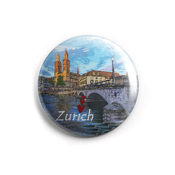 AVI 58mm Regular Size Fridge Magnet Blue Zurich Switzerland Love Europe Travel Souvenir MR8002210