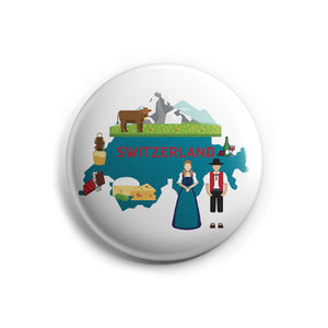 AVI 58mm Regular Size Pin up Badge White Switzerland Map Europe Travel Souvenir R8002212