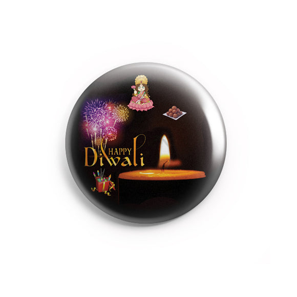 AVI Black Happy Diwali Regular Size 58mm Badges R800218