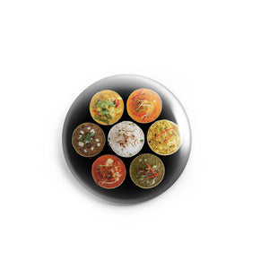 AVI 58mm Pin Badges Multicolor North Indian Thaali Food Lovers Regular Size 58mm R8002229
