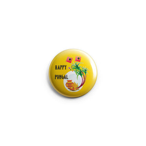 AVI Regular Size Pin- up Badge Yellow Happy Pongal Wishes 58mm R8002269
