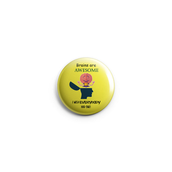 AVI Regular Size Fridge Magnet Yellow Brains are awesome attitude positive quote 58mm MR8002273