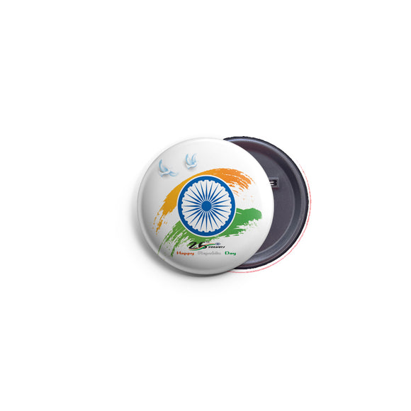 AVI 58mm Regular Size Pin Badge Indian Republic Day with India flag design R8002295