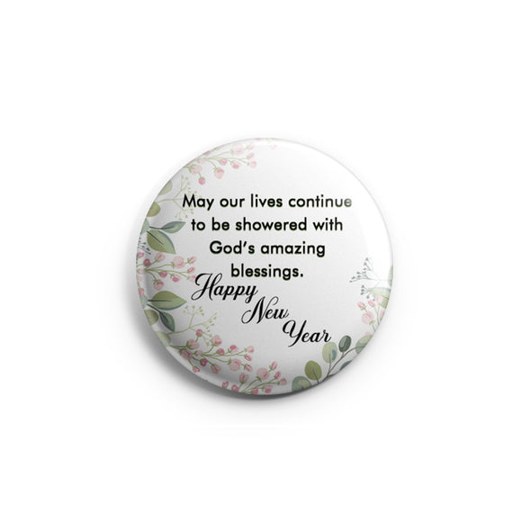 AVI 58mm Badge Happy New Year Quote Regular Size R8002301