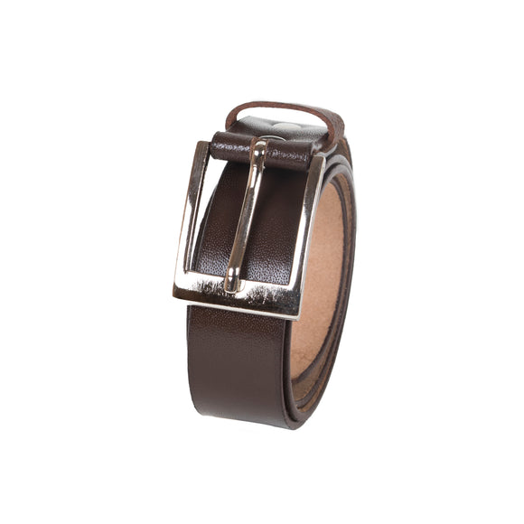 AVI Mens Coffee Brown Colour Leather Belt with Plain Gloosy Look