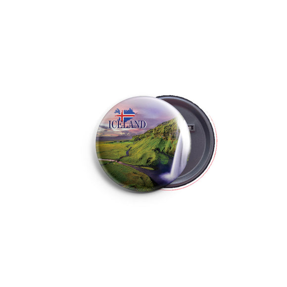 AVI 58mm Badge Blue Iceland Waterfalls Travel Souvenir Regular Size R8002372