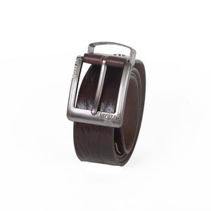AVI Mens Coffee Brown Colour Leather Belt with Woodland Design