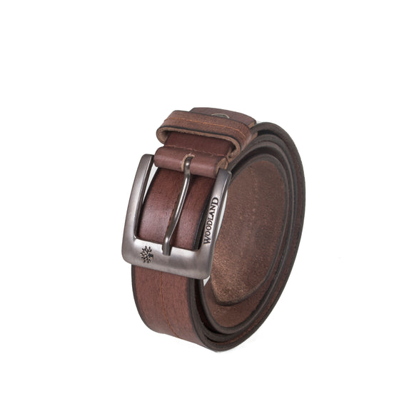 AVI Mens Dark Brown Colour Leather Belt with Woodland Design