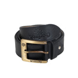 AVI Mens Black Color Leather Belt with Woodland Design