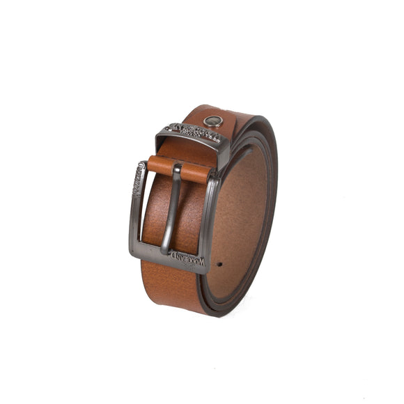 AVI Mens Brown Colour Leather Belt with Woodland Design