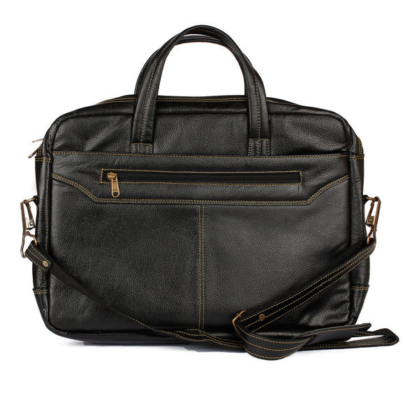 AVI Genuine Leather Black Executive Laptop Bag with Single Compartment