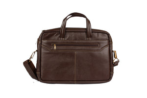 AVI Genuine Leather DarkTan Executive Laptop Bag with Single Compartment