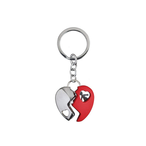 AVI Techpro Multicolour Valentines'day Romantic Metal Heart Keychain Gift for Couples