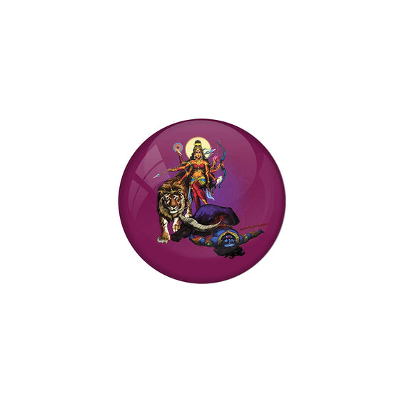 AVI 58mm Regular Size Fridge Magnet with Purple Colour Durga Hindu God Killing Mahishasura Design MR8000188