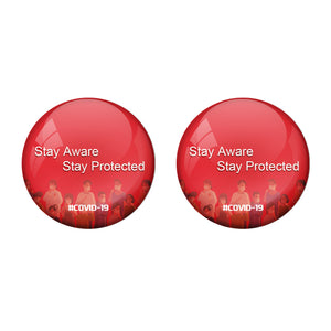 Stay Aware Corona Virus COVID -19 Badge R8000935 x 2