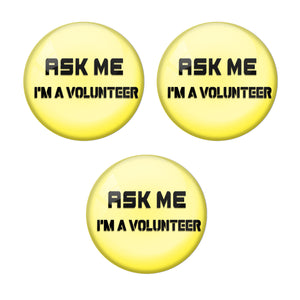 Yellow ASK me Volunteer Corona COVID-19 Virus Badge R8000938 x 3