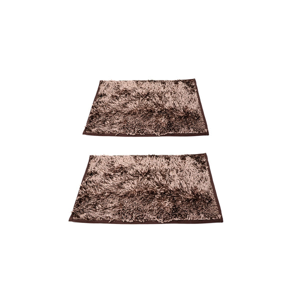 Pack of 2 Fabric  doormats with antislip back 22 x 15inches Brown C2FFM00008