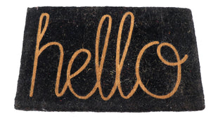 Extra Large Hello design Natural coir doormat (36 x24 inches)
