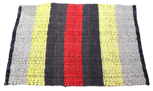 Red black Yellow Grey striped Fabric Door Mat 23 x 15 inches FFM00073
