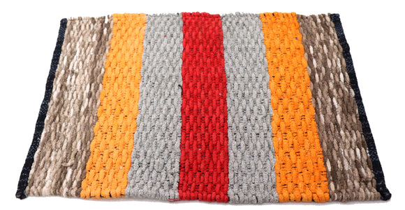 Red Grey Orange Brown striped Fabric Door Mat 23 x 15 inches FFM00074