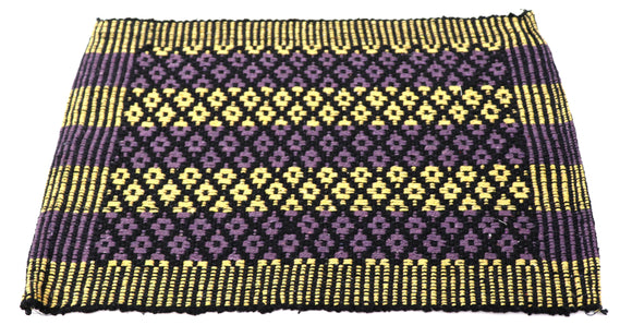 Black Violet yellow fabric doormat