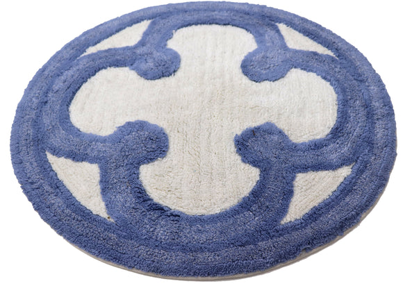 Circular Fabric Door Mat with in Light Blue and White color Diameter 26