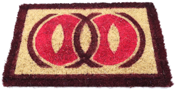 Small Coir Mat with PVC back Brown border & circular designs