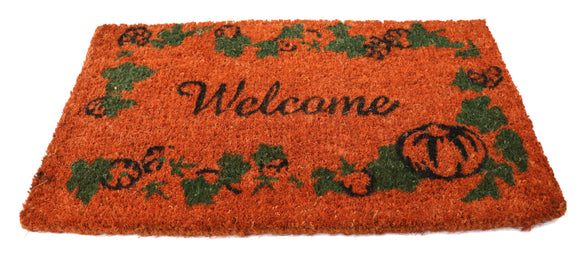 Large Orange Welcome Natural coir doormat (30x18 inches)