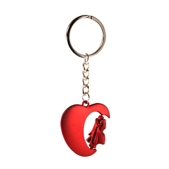 AVI Techpro Doublesided Multicolor Metal Heart with Rotating Couple Design Keychain