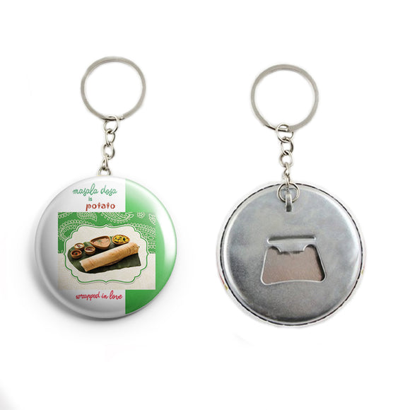 AVI White Masala Dosa is potato wrapped in love Keychain Regular Size Metal 58mm R7002046