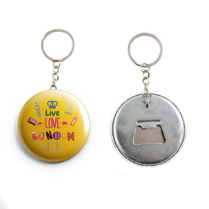 AVI Yellow LIVE LOVE LONDON with British flag background Keychain Regular Size Metal 58mm R7002051
