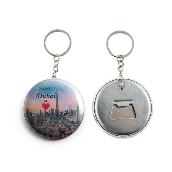 AVI Blue Habibi Dubai is Love UAE Travel Souvenir France Keychain Regular Size Metal 58mm R7002055