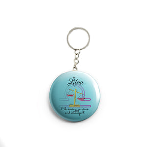 AVI Blue Libra Zodiac sign with traits Red Keychain Regular Size Metal 58mm R7002068