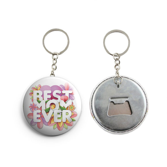 AVI White Best mom quote Mother's day Keychain Regular Size Metal 58mm R7002380