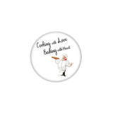 "AVI Pin Badges with Multicolor Food Lovers "" Cooking With Love And Baking With Heart"" Badge Design"