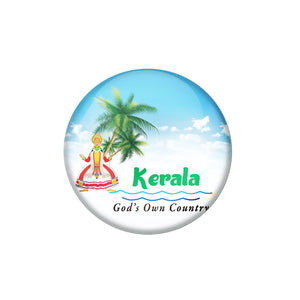 AVI Pin Badges with Multicolor Places '' Kerala Gods Own Country '' Badge Design