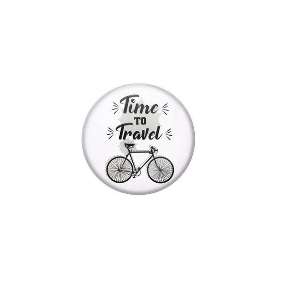 AVI White Colour Metal Fridge Magnet Time to travel With Glossy Finish Design