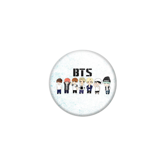 AVI White Colour Metal Fridge Magnet BTS Team With Glossy Finish Design