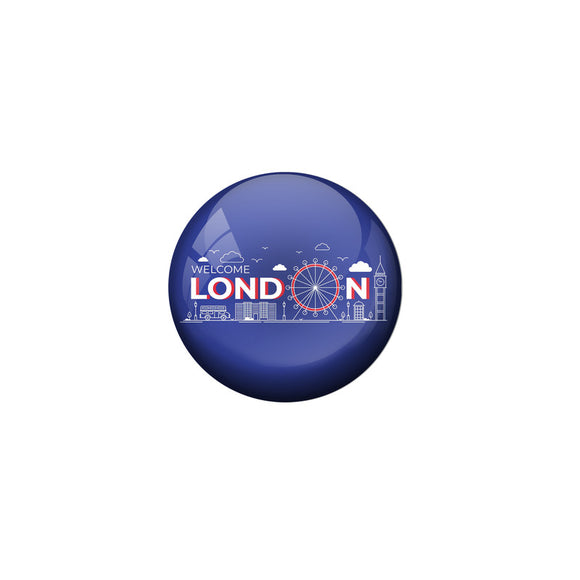 AVI Violet Colour Metal Fridge Magnet London With Glossy Finish Design