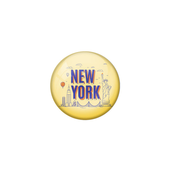 AVI Yellow Colour Metal Fridge Magnet Newyork With Glossy Finish Design