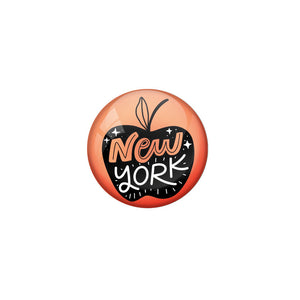 AVI Red Colour Metal Badge Newyork With Glossy Finish Design
