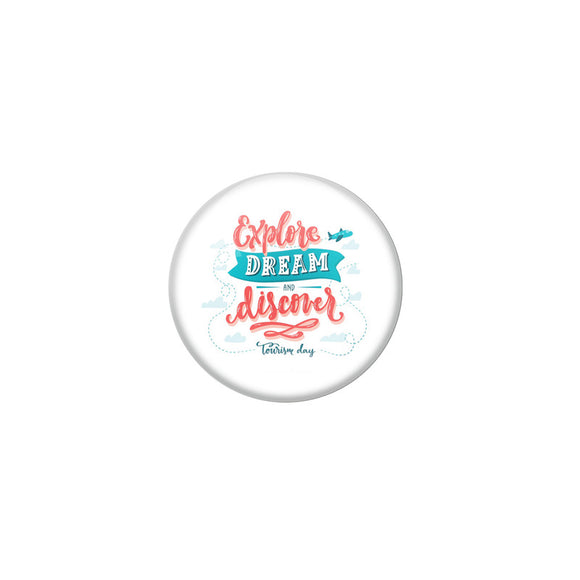 AVI White Colour Metal Badge Explore dream and discover With Glossy Finish Design