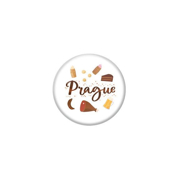 AVI White Colour Metal Badge Prague With Glossy Finish Design