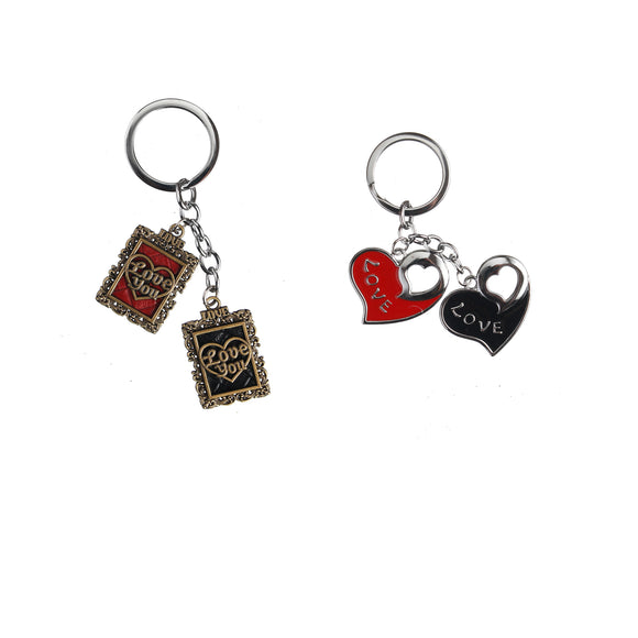 AVI Techpro Multicolour Valentines'day Metal Heart Keychain Gift for Couples Combo Pack