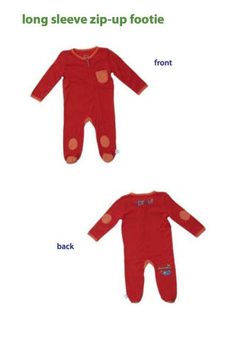 b) Footed onesie Red