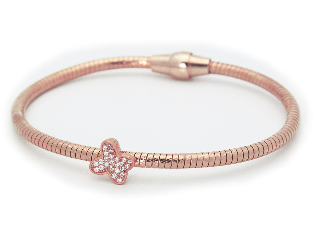 Sparkling Butterfly Tubo Gas Bracelet in Rose Gold