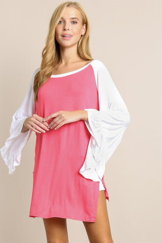 Pretty in Pink Ruffle Sleeve Top