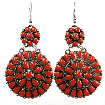 Red Mandala Drop Earrings