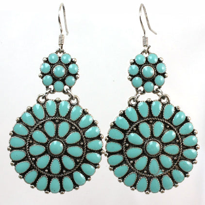 Turquoise Mandala Drop Earrings